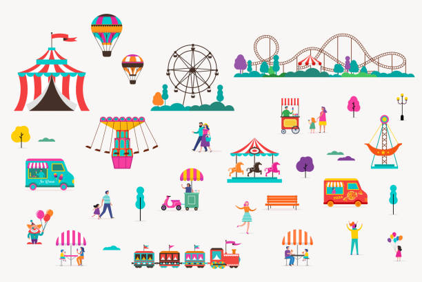 illustrazioni stock, clip art, cartoni animati e icone di tendenza di amusement park with carousels, air balloons and roller coaster. circus, fun fair and carnival icon set - luna park