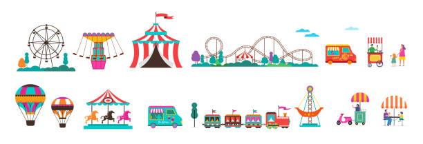 ilustraciones, imágenes clip art, dibujos animados e iconos de stock de parque de atracciones con carruseles, globos de aire y montaña rusa. conjunto de iconos de circo, feria y carnaval - roller coaster