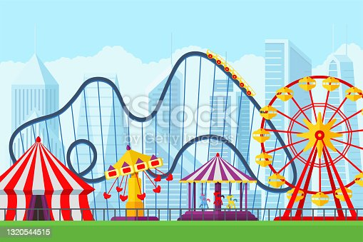 istock Amusement park with circus carousels roller coaster and attractions entertainment in city. Fun fair and carnival theme landscape. Ferris wheel and merry-go-round festival vector illustration 1320544515