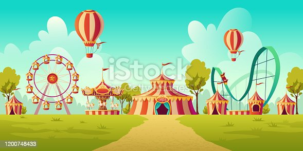 Carnival funfair, amusement park with circus tent, roller coaster, carousel and ferris wheel. Vector cartoon illustration of summer landscape with attractions and balloons