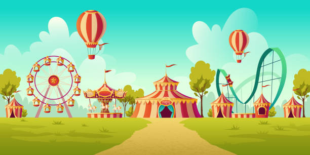 Amusement park with circus tent and carousel Carnival funfair, amusement park with circus tent, roller coaster, carousel and ferris wheel. Vector cartoon illustration of summer landscape with attractions and balloons carnival stock illustrations