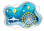 Amusement park with ferris wheel, carousel and hot air balloons. Vector illustration in paper art style. Theme park poster, banner design template.