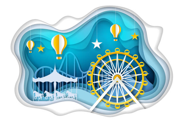 Amusement park with ferris wheel vector paper art illustration Amusement park with ferris wheel, carousel and hot air balloons. Vector illustration in paper art style. Theme park poster, banner design template. paper craft stock illustrations