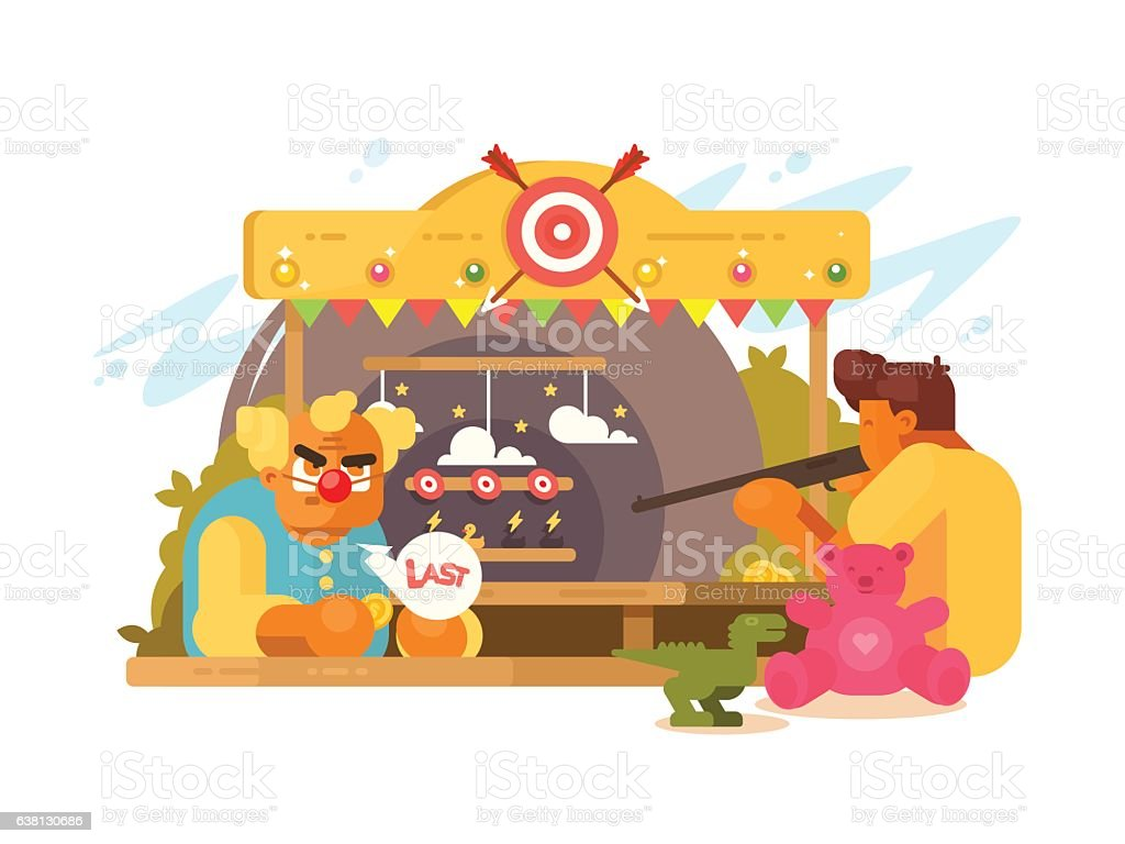 Amusement Park with shooting range vector art illustration