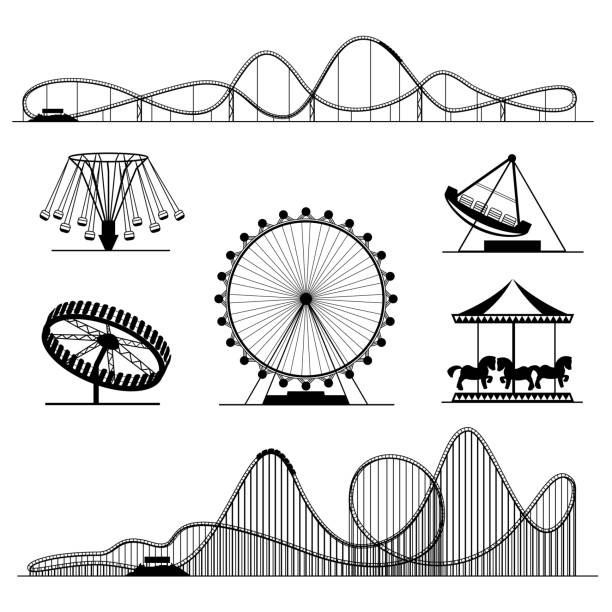 amusement ride or luna park roller coasters entertainment vector set - roller coaster stock illustrations