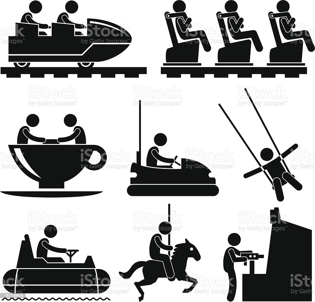 Amusement Theme Park People Playing Pictogram royalty-free stock vector art