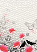 Spring background with pink sakura (cherry blossom) floral, birds and butterfly.All elements are individual objects arranged on clearly labeled layers, global colors used. Hi res jpeg included. Click on my portfolio to see more of my illustrations.
