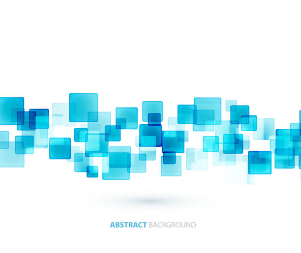 An abstract background of blue semi opaque squares vector art illustration