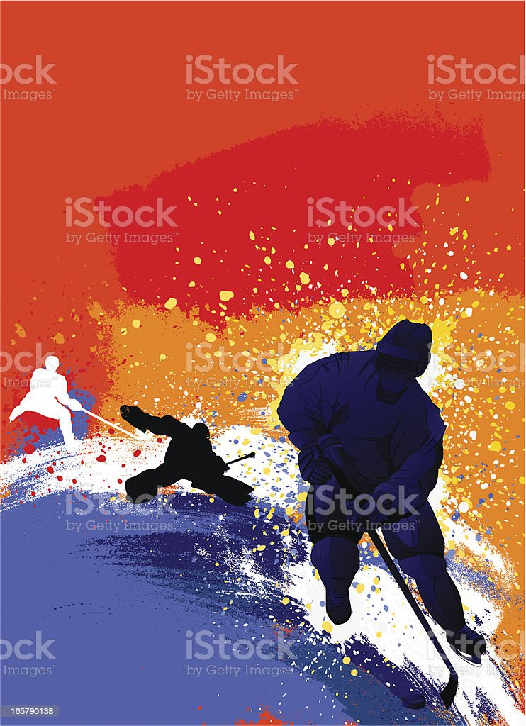 An abstract digital design of hockey player silhouettes  vector art illustration
