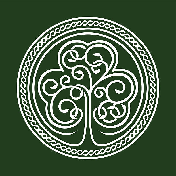 An abstract emblem relating to St. Patrick's Day Stylized image of a shamrock on a dark green background with celtic ornament. celtic style stock illustrations