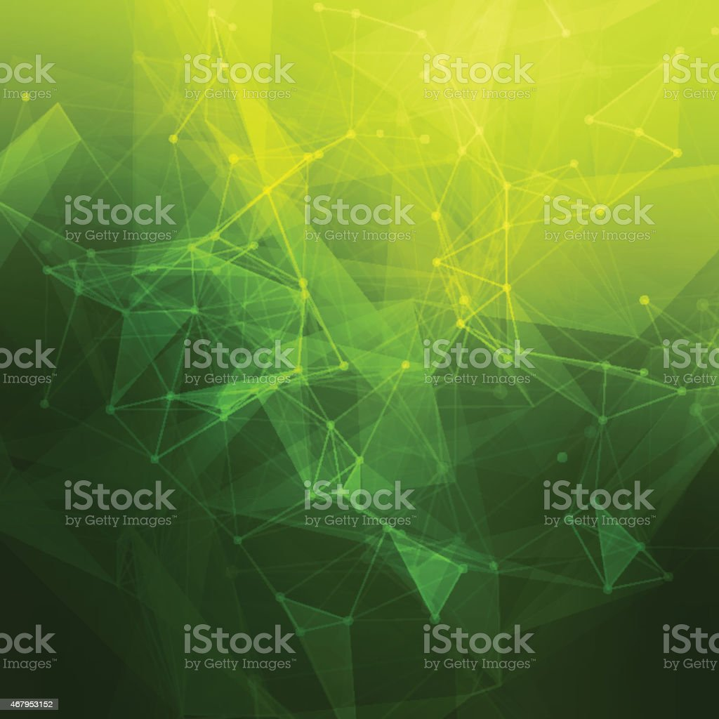 An abstract geometrical pattern in green and yellow vector art illustration