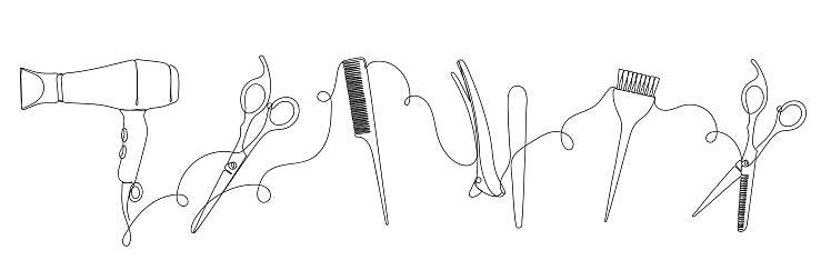An abstract image with continuous black line of hairdresser set. Isolated on white.