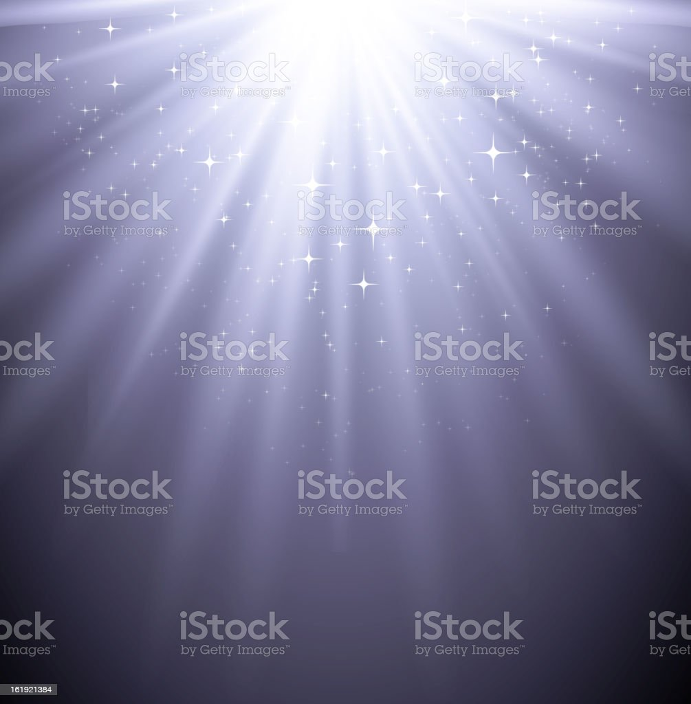 An abstract of a mystical light gleaming down its rays vector art illustration