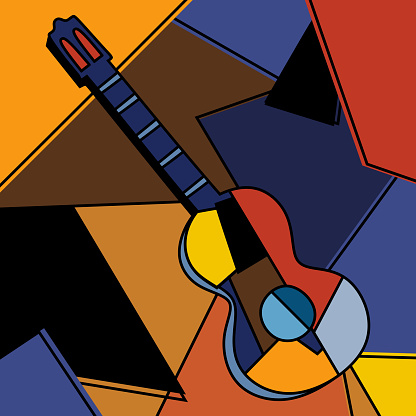 An acoustic guitar cubist surrealism painting modern abstract design. A musical instrument. Abstract colorful music. Cubism minimalist style. Guitar and music theme. Vector illustration