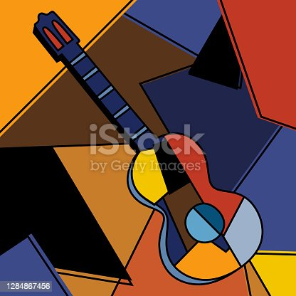 istock An acoustic guitar cubist surrealism painting modern abstract design. A musical instrument. Abstract colorful music. Cubism minimalist style. Guitar and music theme. Vector illustration 1284867456