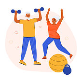 An active elderly couple doing sports together at home. Grandparents lead a healthy lifestyle. Active seniors training in gym. Seniors people train using dumbbells and do gymnastics, stretching.