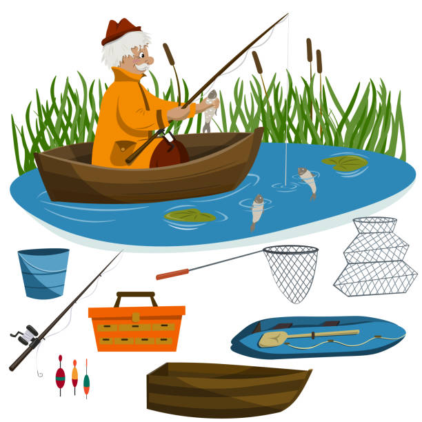 Royalty Free Senior Men Fishing Clip Art, Vector Images ...
