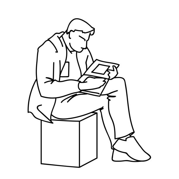 an adult man is reading a book sitting on a cube. vector illustration of a man gazing intently into a magazine or journal with square art. concept. sketch. linear art. black lines isolated on white background. - old man sitting chair drawing stock illustrations, clip art, cartoons, & icons