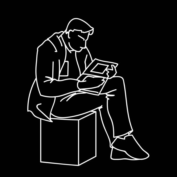an adult man is reading a book sitting on a cube. vector illustration of a man gazing intently into a magazine or journal with square art. concept. sketch. linear art. white lines isolated on black background. - old man sitting chair clip art stock illustrations, clip art, cartoons, & icons
