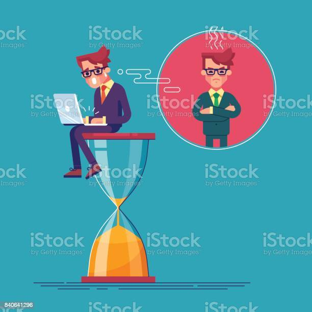 An alarmed worker is sitting on an hourglass with laptop and rushing vector id840641296?b=1&k=6&m=840641296&s=612x612&h=mot49gfdyye 7 ubd96qwxmicey gmf4wqjjuhakmso=