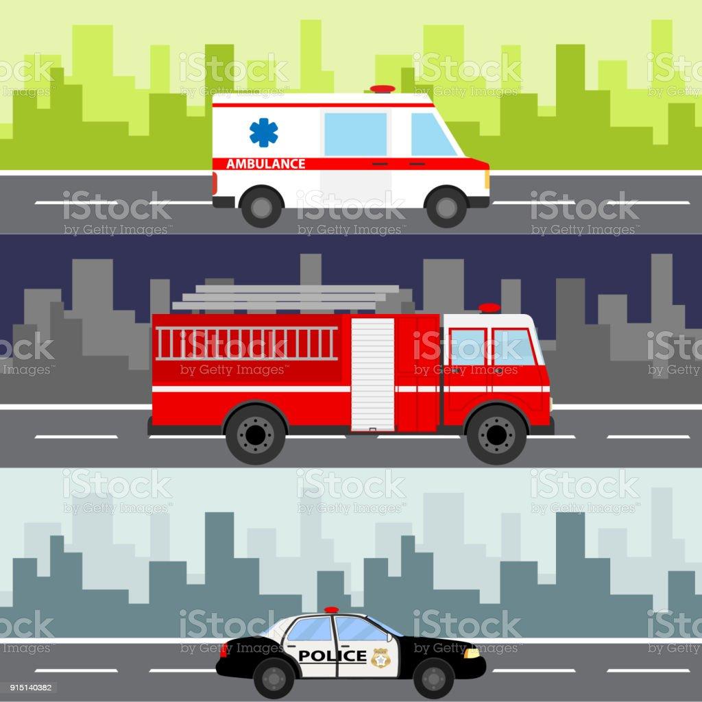 Bir Ambulans Itfaiye Arabası Polis Arabası şehir Manzara Arka Plan