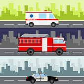 An ambulance, a fire truck, a police car on a city landscape background. Service auto vehicle, public and emergency transport, urban roadside assistance. Flat design, vector illustration, vector.