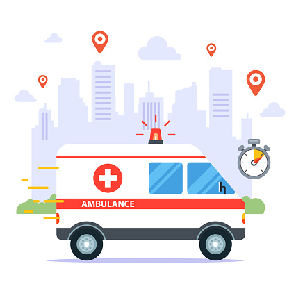 an ambulance travels to call a sick patient