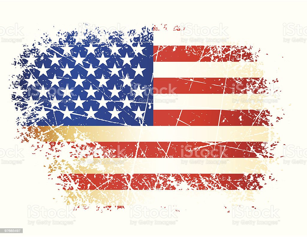 An American flag defaced with white scratches vector art illustration