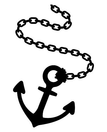 An anchor chain isolated vector illustration.