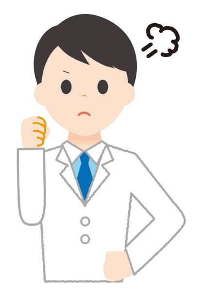 An angry man wearing white. An angry man wearing white. 病院 stock illustrations