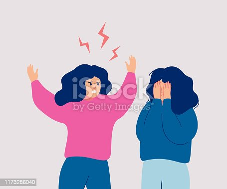 An angry woman screams at a crying woman who covers her face with her hands. People during conflict or disagreement. Flat cartoon vector illustration.