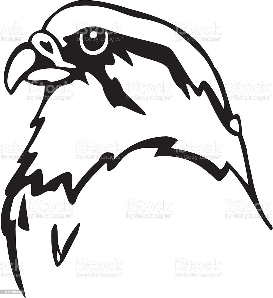 an animated black and white falcon stock vector art more images of Falcon Grill Parts an animated black and white falcon illustration