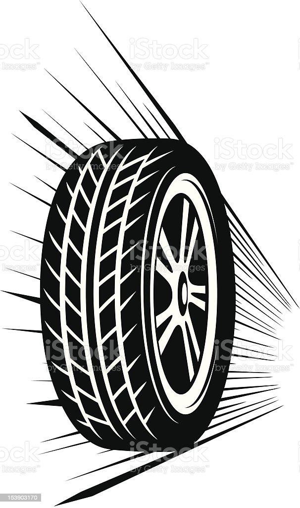 An animated black tire rolling royalty-free stock vector art