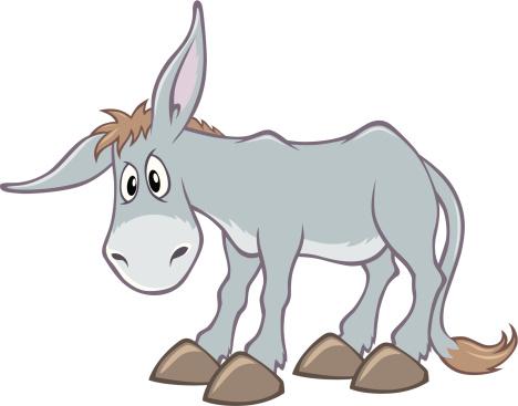 An animated, cartoon, grey donkey