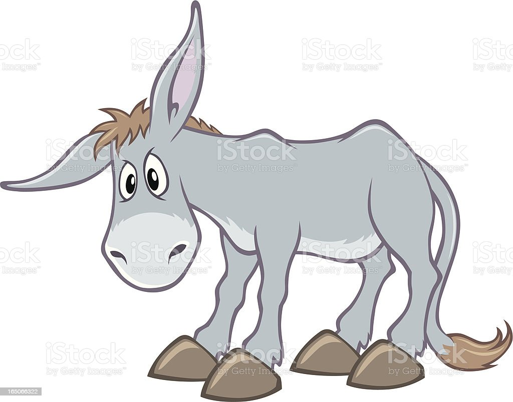 An animated, cartoon, grey donkey vector art illustration