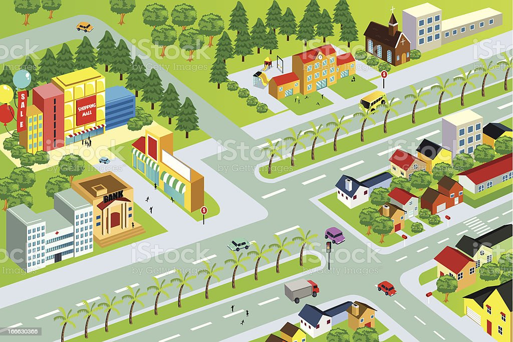 an animated city map with details stock vector art