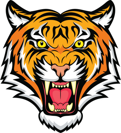 An animated colorful snarling tiger