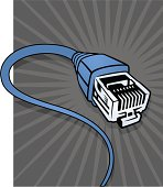 An animated Ethernet cable with a gray background