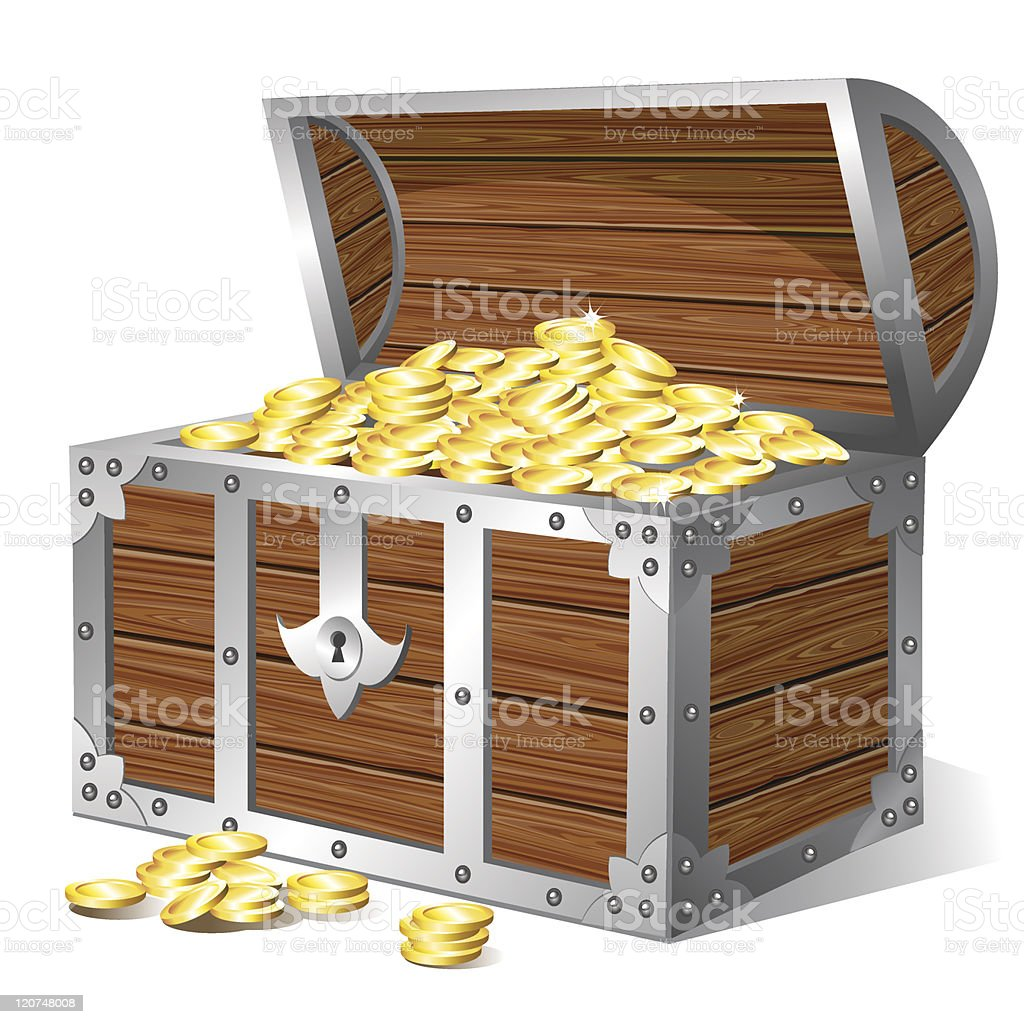 An animation of a treasure chest full of gold coins vector art illustration
