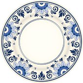 An antique blue and white plate