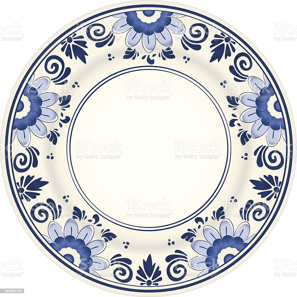 An antique blue and white plate vector art illustration