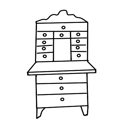 An antique Bureau drawn in the style of a Doodle. Collection of antique cabinets isolated on a white background. Furniture and decorative elements for interiors.Hand-drawn vector illustration.