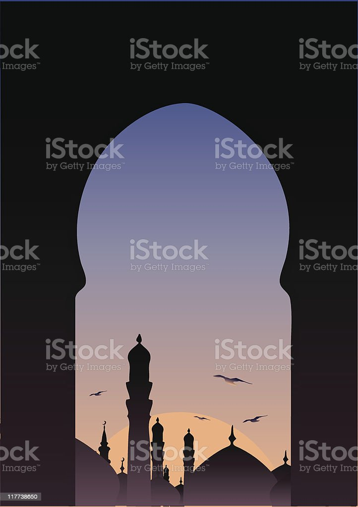 An Arabic window looking out to a city at sunset royalty-free stock vector art