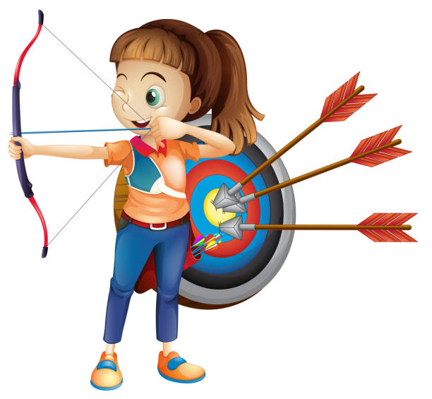 an archer girl with white background - target australia stock illustrations