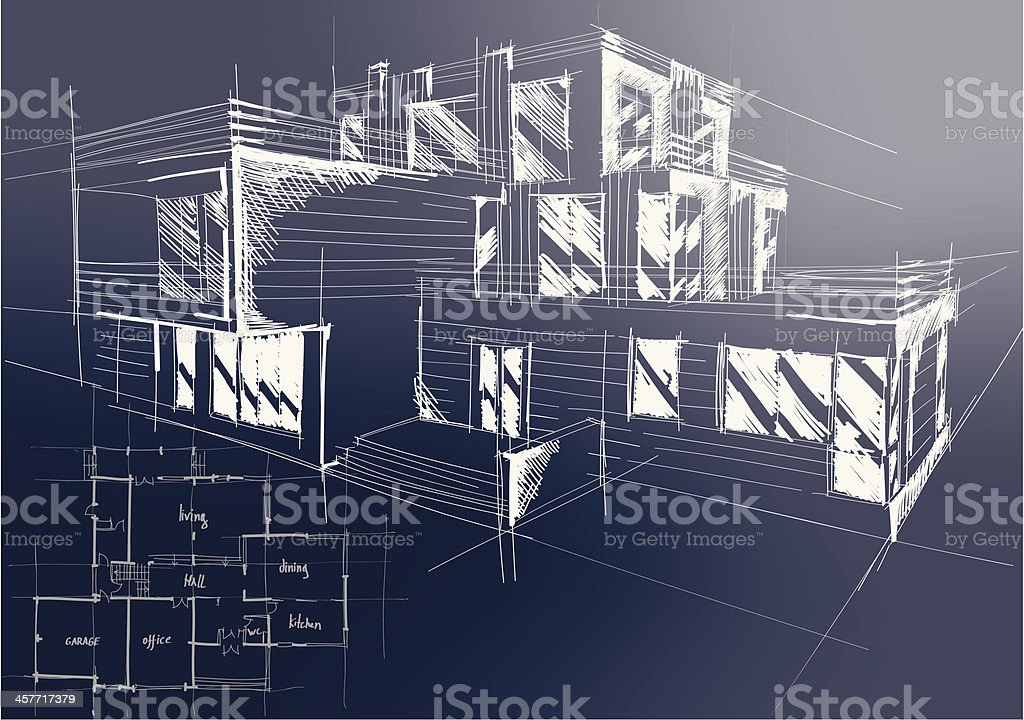 An architectural blueprint of plans for a new building stock vector an architectural blueprint of plans for a new building royalty free an architectural blueprint of malvernweather Image collections