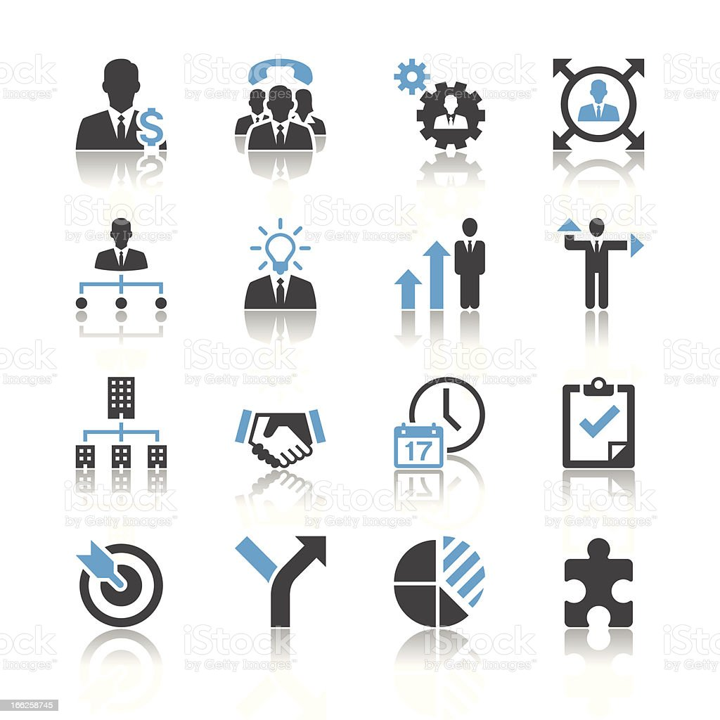 An assortment of black and blue business management icons vector art illustration