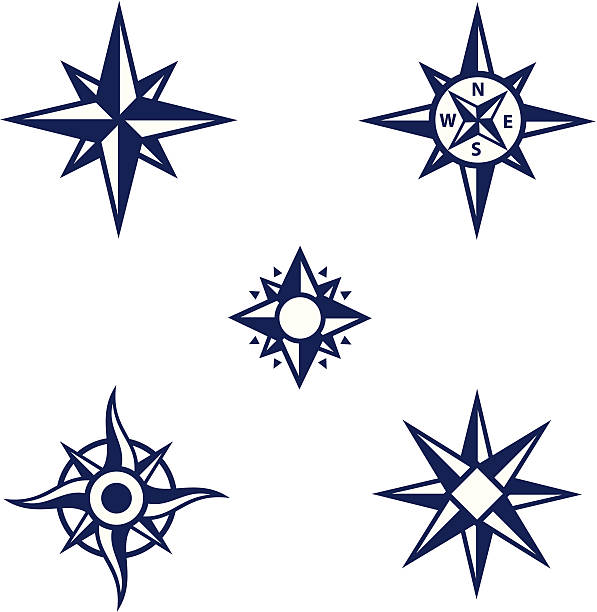An assortment of dark blue compass symbols vector art illustration