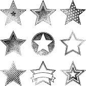 Vector image. Set of star grunge rubber stamps.