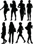 A collection of city girls in silhouette.
