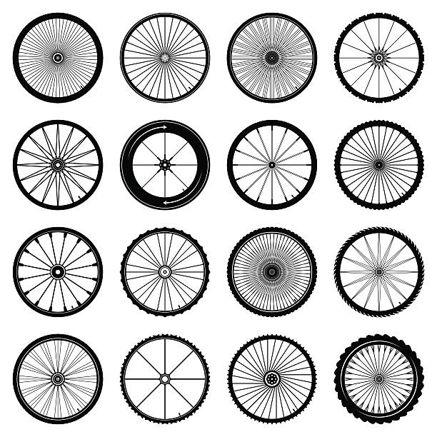 an assortment of illustrated bicycle wheels - bike stock illustrations, clip art, cartoons, & icons